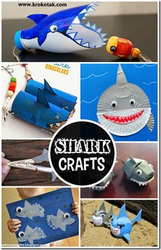 Shark crafts for kids - so many cute ideas for an ocean theme for preschool or kindergarten