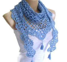 Crochet Lace Scarf Holiday Accessories  fashion by likeknitting, $29.99