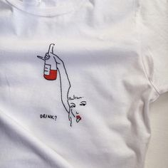 Wednesday is a small Friday 🍷 Agree? Embroidery On Clothes, Shirt Embroidery, Embroidered Clothes, Embroidery Stitches, Embroidery Patterns, Custom Clothes, Diy Clothes, T-shirt Broderie, Shirt Diy