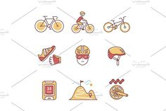 Bike cycling and biking accessories by Iconicbestiary on @creativemarket