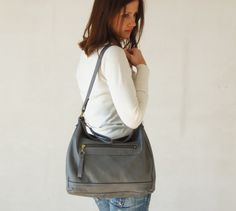Grey leather shoulder bag  grey leather purse  leather by Laroll