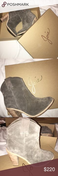 """Joie Heeled Monte Bark Suede Booties (Worn Once) Designer Gray Suede Booties, 3"""" Joie Shoes Ankle Boots & Booties"""