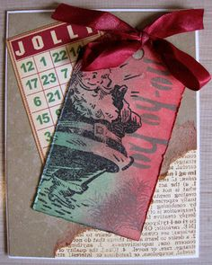 """Christmas card using Tim Holtz stamps and Distress Inks. Dylusions stencil for """"ho ho ho""""."""