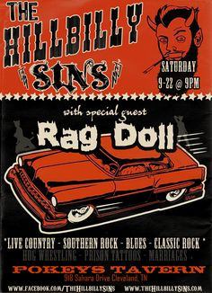 Gig poster for cool band called The Hillbilly SiNs   www.theHillbillySiNs.com