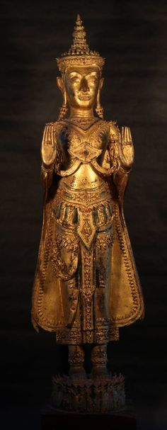 Royal Ayutthaya Crown Buddha in Bronze (item detailed views) Standing Buddha Statue, Buddha Head, Buddhist Art, Museum Collection, Art For Sale, Crowns, Bronze, Antiques, Amber