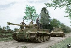 Villers bocage 1944 tiger tank 231 getting towed by tank 222 after abreak down,10 days later it is abandoned and scuttled in the middle of a road by its crew after it ran out of fuel.tiger tank 231  was saved after the war and is still around today.