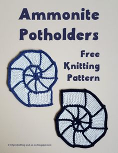 Knitting and so on: Ammonite Potholders (free knitting pattern) Knitting Designs, Knitting Patterns Free, Knit Patterns, Free Knitting, Knitting Short Rows, Knitting Stitches, Crochet Potholders, Knit Dishcloth, Yarn Thread