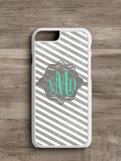 Gray Striped Monogrammed- Cell Phone Case