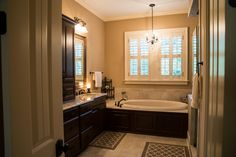 A luxurious soaking bathtub! Master Bathroom The Silvergate House Plan #1254-D. #Bathroom #MasterBathroom #HousePlan