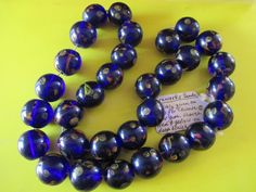 Blue Glass Beads with Millefiore and Trailing - 18th-19th Century (China)