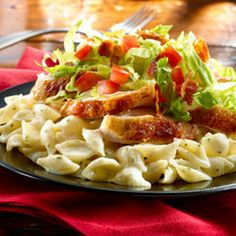Creamy Chicken BLTSkillet Recipe Main Dishes with knorr italian side creami garlic shell, bacon, crisp-cooked and crumbled, iceberg lettuce, tomatoes, rotisserie chicken