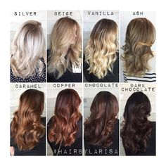 For many that are wondering the tone differences between each beautiful color, here is a simple chart for you. ❤️ ⠀⠀⠀⠀⠀⠀⠀⠀⠀ •Silver •Beige •Vanilla •Ash •Caramel •Copper •Chocolate •Dark Chocolate Which would YOU wear ? & why ? #HairByLarisaLove