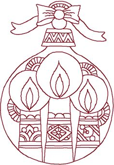 Redwork Christmas Ornament & Candles Embroidery Design