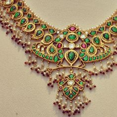 Basra pearls, rubies & emeralds make for a stunning combination with Polki diamonds. An heirloom necklace by Amrapali Jewels, Jaipur. Traditional Indian Jewellery, Indian Jewellery Design, Handmade Jewellery, India Jewelry, Temple Jewellery, Body Jewellery, Indian Wedding Jewelry, Bridal Jewelry, Amrapali Jewellery