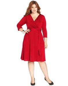 Plus Size Faux-Wrap Dress - Figure flattering wrap dress with tummy control. #plus #size #fashion