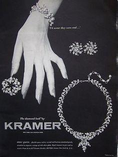 1954 Vintage Kramer Diamond Look Necklace Earrings Bracelet Brooch Jewelry Ad | eBay