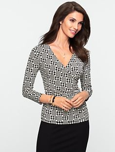 Talbots - Classic Jersey Abstract-Houndstooth Top   Tees and Knits   Misses