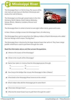 This year 6 geography worksheet includes interesting facts about the Mississippi River. Children read the comprehension and answer the questions. Geography Worksheets, Social Studies Worksheets, Geography Lessons, Reading Comprehension Activities, Reading Fluency, Reading Passages, Teaching English, Learn English, English Grammar Worksheets