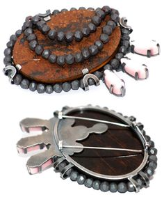 Ulla Ahola  Brooch: Untitled 2009  Tiger's eye, hematite, fiber glass, silver, thread