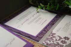 Lace Wedding Invitation  Purple and Silver by birdhousestationery, $8.00