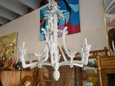 Whimsical Faux Bamboo Monkey Chandelier Palm Beach Regency