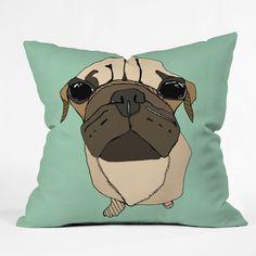 Casey Rogers 'Puglet' Throw Pillow