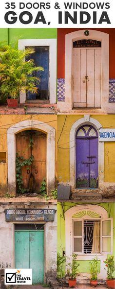 35 Doors and Windows in Panjim's Latin Quarter Fontainhas - Goa, India The Travel Tester Goa Travel, India Travel Guide, Travel Tips, Paris Travel, Wanderlust Travel, Travel Guides, Goa Indien, Holiday Destinations, Travel Destinations