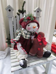 Primitive Folk Art  Christmas Winter  Snowman Doll w/ Ginger Bread Man #HandMadewithlotsofLove