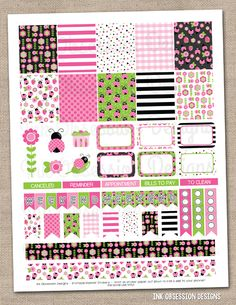 Ladybug Pink Printable Planner Stickers PDF Instant Download