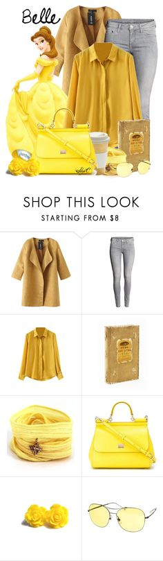 """""""Belle - Winter - Disney's Beauty and the Beast"""" by rubytyra ❤ liked on Polyvore featuring Chicnova Fashion, H&M, Disney, Blooming Lotus Jewelry, Dolce&Gabbana, Gucci, Winter, disney, belle and disneybound"""