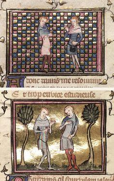 Roman de la Rose 1348, folie 50r, 67v Medieval World, Medieval Art, Medieval Fashion, Medieval Clothing, Medieval Manuscript, Illuminated Manuscript, Renaissance, Middle Ages Clothing, 14th Century Clothing