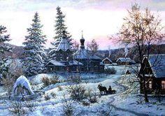 Художник Сергей Хананин. Winter Beauty, Landscape Paintings, Landscapes, Ephemera, Winter Wonderland, Scenery, Images, Snow, Illustration