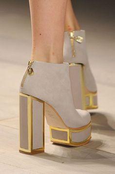 gold + grey heeled booties