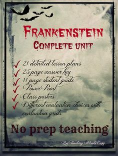 Lesson plans teaching mary shelleys frankenstein homeschool frankenstein unit complete with no prep for you new the teacher guide as well as the student guide are now adaptable in word format to suit individual fandeluxe Choice Image