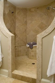No glass...no cleaning the shower door! And 2 sides with separate shower heads in case you both have to get ready at the same time! - Click image to find more Home Decor Pinterest pins