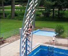 'Rock' Wall installed over swimming pool.