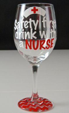 Personalized Nurse Wine Glass Personalized Nurse by PrettyProposal