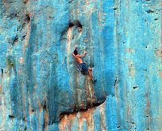 blue lead climb. Ceuse, France