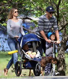 Model family: Gisele Bundchen and husband Tom Brady accompany Vivian and Benjamin to a Bos...