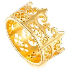 MOWOM Gold Tone Stainless Steel Ring Band Royal King Crown * Sincerely hope that you love our picture. (This is an affiliate link) Royal King, Kings Crown, Stainless Steel Rings, Band Rings, Nice, Gold, Image, Yellow