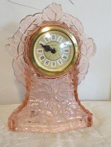 Pink Depression Glass Clock