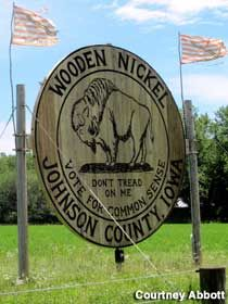 World's largest wooden nickel - Iowa City, IA Drive by this nearly daily.