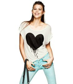 Soft cotton heart-shaped logo printing round neckline flanging female T-shirt with short sleeves FREE SHIPPING $13.90