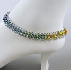 Rainbow Chainmaille Anklet, Rainbow Ankle Bracelet, Gay Pride Jewelry by HCJewelrybyRose on Etsy