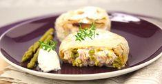 Recette de Pastilla de thon aux St Môret® Ligne & Plaisir®, asperges vertes et aux fruits secs. Facile et rapide à réaliser, goûteuse et diététique.