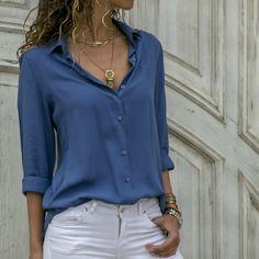 Women Tops Blouses Autumn Elegant Long Sleeve Solid V-Neck Chiffon Blouse Female Work Wear Shirts Office Plus Size Blusa Chiffon Shirt, Chiffon Blouses, Collar Blouse, Long Blouse, Blouses For Women, Long Sleeve, Sleeves, Clothes, Mid Length