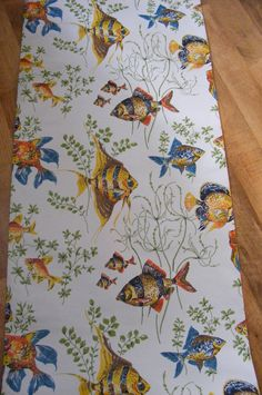 Tropical gold fish vintage wallpaper 1 meter length. 50s by mumxie