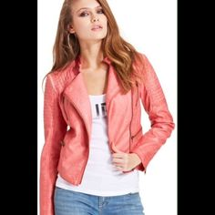 Guess Coral Leather Jacket Brand new ! I bought it and it doesn't fit me.. Too big :( gorgeous mint condition. Saw people selling it for $100+ on ebay Guess Jackets & Coats