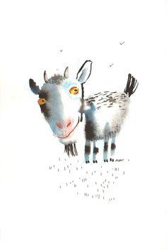 The Goat and Three Birds Fine Art print von ozozo auf Etsy, €20.00