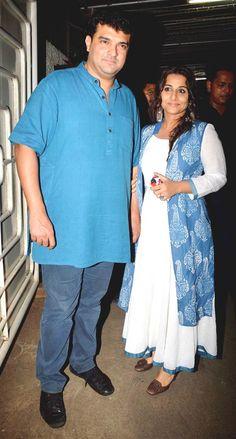 Vidya Balan with husband Siddharth Roy Kapoor at the screening of 'Haider'. #Bollywood #Fashion #Style #Beauty